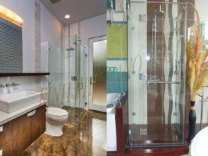 Phòng tắm kính mở quay vuông góc 90 độ