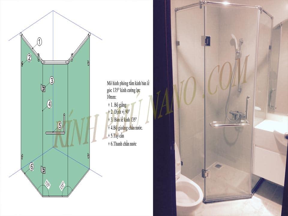 Cấu tạo bồn tắm kính vát góc 135 độ mở quay